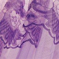 Edles lila rosa Hochzeit Runde Spitze High Density Princess Bett Netzen Vorhang Kuppel Königin Canopy Moskito Nets #sw 364 R2
