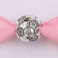 Аутентичные Стерлингового серебра 925 Стерлингового серебра, сверкающие футбольные шариковые чарные чары подходит для европейской пандоры в стиле ювелирные изделия браслеты ожерелье 798795C01