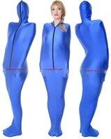 Blue Lycra Spandex Mummy Costumes Borsa a pelo con maniche a braccio interno Unisex Body Borse per il corpo Sleepsuit Costume Catsuit Costume Halloween Abito fantasia Vestito Cosplay P019