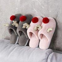 Slippers Couple House Fur Slides Women Winter Cute Plush Reindeer Warm Non-slip Men Zapatos De Mujer