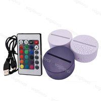 Lumières de nuit RGB Touch Switch lampe de lampe pour l'illusion 3D 4MM Panneau de lumière acrylique 2A Batterie ou DC5V USB DHL