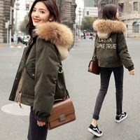 Parka Women Short Winter Down Cotton Padded Coats Female Jacket Korean Parkas Mujer Fur Collar DFF2685