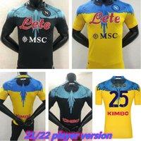 2021 Napoli Jersey Jersey Nápoles Camisa de Futebol Especial-Edition 2022 Koulibaly Camiseta de Fútbol Insigne Maradona Osimhen Mertens Versão Jogador Homens Kit