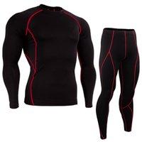 Gym Jogging Suit Compression Yoga Sport Fitness Set Kläder 2020 Sport Suit Män Långärmad Running Ställer Snabbtork Basketballsoccer Jersey