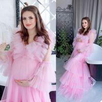 2021 Maternity Pal Robes De De longues manches Robes de soirée Kimono Enceinte Fête De Sleepwear Femmes Peignoir De Pehrobe Sheer Knightkown