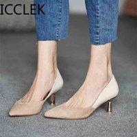 Icclek Damen Kleid Schuhe Patchwork Pumps Spitzart Party Frau Mode Tiefhäler Bootsschuh Damen 210610