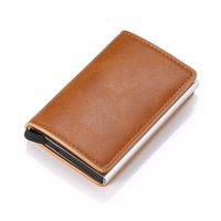 NEW Men Credit card holder carbon Leather Wallets Aluminum Automatic Mini Wallet With Back Pocket ID Cards RFID Blocking purse
