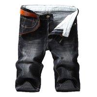 Шорты мужские джинсовые летние стиль тонкий разрез эластичная сила Slim Fit Jeans мужской бренд одежда черный синий