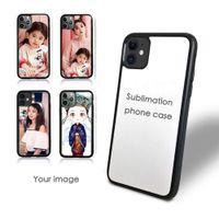 Blank 2D Sublimation TPU PC Cajas de teléfono de plástico duro Transferencia de calor para iPhone 12 11 Pro Max SE 8 8PLUS x XR XS con inserciones de aluminio