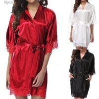 Mulheres curtas cetim cetim robe sexy casamento vestido vestido de laço seda quimono roupão de banho verão nightwear