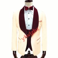 Customize One Button Handsome Shawl Lapel Groom Tuxedos Men Suits Wedding Prom Dinner Man Blazer(Jacket+Pants+Tie+Vest) W873
