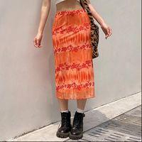 Long Summer Orange Floral Womens Skirt Midi Y2K Boho Beach High Waist Fashion Tulle Sweet Jupe Femme