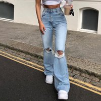 Women's Jeans Spring And Autumn Ladies Ripped Fashion Stretch Wash Mid-waist Trend Casual Denim Flared Trousers Clothing WS10
