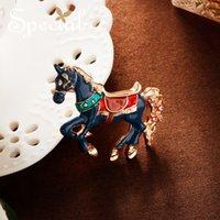 Sondermode Emaille Broschen Pin Schöne Horse Brosche Blumenstrauß Tier Hochzeit Schmuck 2021 Geschenke für Frauen S1727B