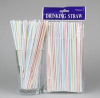 100pcs bag Disposable Plastic Drinking Straws 20.8*0.5cm Multicolor Bendy Drink Straw For Party Bar Pub Club Restaurant SN2988