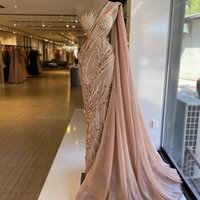 Blush Pink Mermaid Prom Dress One Shoulder Lace Beaded Sequins Robe De Soiree Arabic Evening Gowns With Wrap Formal Party Dresses