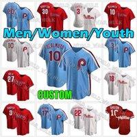 10 JT Realmuto Jerseball Baseball personalizzato Philadelphia 2021 Phillies Jersey 3 Bryce 17 Rhys Hoskins Mike Schmidt Harpe Men Donne Giovanità Cucita
