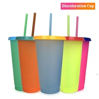 Creative 24oz Temperature Color changing Magic Cup Reusable Magic Coffee Mug Plastic Drinking Tumblers with Lid and Straw NHB6440