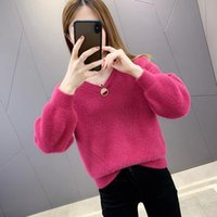 Women 2021 Autumn Winter Sweaters Warm Pullover And Jumpers V-Neck Long Sleeve Knitted Sweater Casual Loose Knitwear Tops E128 Women's