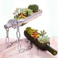 Terrario de vidrio de plantador de botellas de vino creativo para un suculento cactus planta de aire de corte botellas de vino en la mitad de la maceta de los regalos de alcohol DWE9280