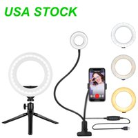 """10"""" Selfie Ring Light with Tripod Stand - Dimmable Desktop Ringlight USB Ports, Circle Lights LED Camera Lighting for Live Stream/Makeup"""