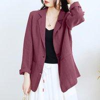 Women's Suits & Blazers 2021 Autumn Cotton Linen Office Coats Womens Fashion Blazer ZANZEA Elegant Solid Outwear Casual Lady Lapel Long Leev