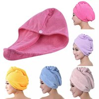 Mikrofaser Schnell trocken Dusche Haarkappen Handtuch Trocknung Wrapp Womens Girls Dame's Handtücher Quickdry Hutkappe Turban Head Bathing Tools WLL538