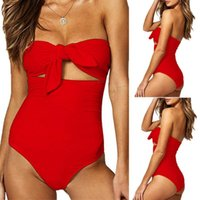 Mulheres Sexy Nó Monokini Push Up Bandeau Swimsuit Plus Size Solid Swimwear OnePiece Beachwear Banheira Terno Natação Traje Mulheres