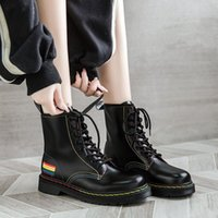 Boots Okkdey 2021 Autumn Flat Heel Lady Rock Shoes Woman Ankle Booties Women Round Toe Lace Up Luxury Designer