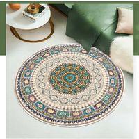 Diameter 40/60/80 / 100cm Nordic National Style Carpet Marockansk mattan Vardagsrum Bedroom Bay Fönster Bedside Round Yoga Mat vid havet T2i52721