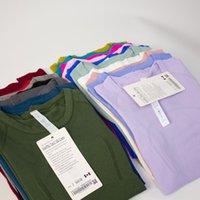 YOGA Bayan Spor T Shirt Giymek Tech Bayanlar Kısa Kollu T-Shirt Nem Fuyk Örgü Polar Yüksek Elastik Fitness Moda Tees