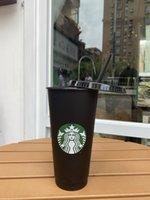 Starbucks 24oz / 710ml Plastica Tumbler Riutilizzabile Nero Bere Bere Flat Bottom Tazza a forma di pilastro Tazza di paglia