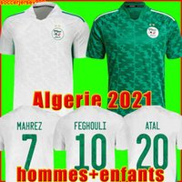 알제리 축구 유니폼 2021 Algérie Fans 선수 버전 홈 어웨이 MAHREZ FEGHOULI BENNACER ATAL 20 21 축구 셔츠 남성 + 키즈 키트 세트