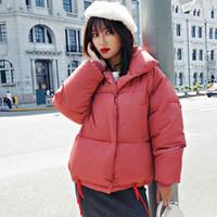 Chaqueta de burbujas cortas para mujeres 2021 Invierno Parkas sólidas de estilo coreano Cuello de soporte de algodón grueso Abrigo acolchado Femme Kurtka Damska