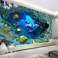 Custom Size 3d Po Wallpaper Mural Living Room Underwater World Dolphin Picture Sofa TV Backdrop For Wall Wallpapers