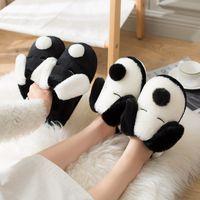 2021 furry slipper female cartoon shallow mouth round head rabbit fur flat-heeled plush slippers size 36-44