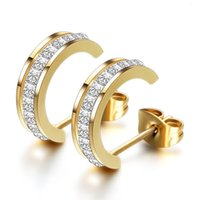 Hip Hop Rock Micro Paved CZ Stone Bling Ice Out 316L Stainless Steel Stud Earrings for Men Women Fashion Jewelry