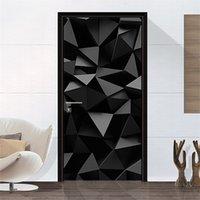 3D геометрические картины двери наклейки гостиная спальня из ПВХ самоклеющиеся двери обои домашнее декор водонепроницаемая роспись наклейки на стену 693 v2