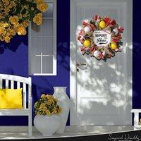 Dekorative Blumen Kränze 1 stücke Haus Nummern Dekoration Girlande Baseball Team Wiederverwendete Simulation sein Türhänger Kunststoffkanne H0B9