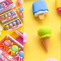 4pcs Yummy Dessert Eraser Set Set mini Lecca-lecca Icecream Popsicle Donuts gomma gomma gomma gomma gomma per bambini School Student Award OK Yas 193 V2
