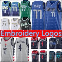 77 Luka Mens Jersey Doncic Russell 4 Westbrook Basketball Jerseys Gris Vert Noir Blanc Rouge Bleu S-XXL
