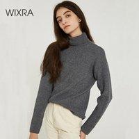 WixRA Femmes Sweaters 2019 Automne Hiver Doit avoir un col roulé solide Pull tricoté de base Pulls de pulls pour femmes V4YV #