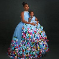 Light Blue Flower Girl Dress For Weddings Jewel Neck 3D Floral Beading Tulle Birthday Gowns Pageant First Communion Wear