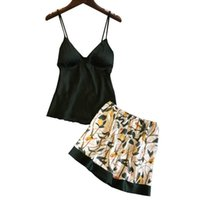 Lisacmvnel sexy impresión espagueti correa mujer pantalones cortos pijama conjunto de hielo con pecho pecho ropa de dormir femenina Q0706