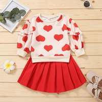 Clothing Sets 2Pcs Autumn Baby Girls Casual Clothes Set Heart Printed Pattern Round Collar Tops Pullovers And Skirt Toddler Outfits Bodysuit