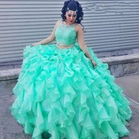 Two piece Lace Turquoise Quinceanera Dresses 2019 Beaded Crystal Organza Ball Gowns Sweet 16 Gowns Corset Formal Dress for 15 years