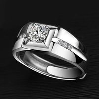 Love Ring men's Sier Ring Simple personality lovers opening simulation diamond dominee single