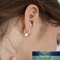 Cute French Pearl Ear Studs Small Hoop Earrings for Women Gold Color Eardrop Minimalist Geometric Huggies Hoops Jewelry