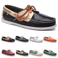 twenty five Mens casual shoes leather British style black white brown green yellow red fashion outdoor comfortable breathable