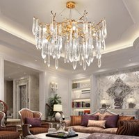 Pendelleuchten Nordic Luxuriöse LED-Kronleuchter 6/8/12 Kopf K9 Kristall Deckenleuchte für Esszimmer Villa Wohnkultur